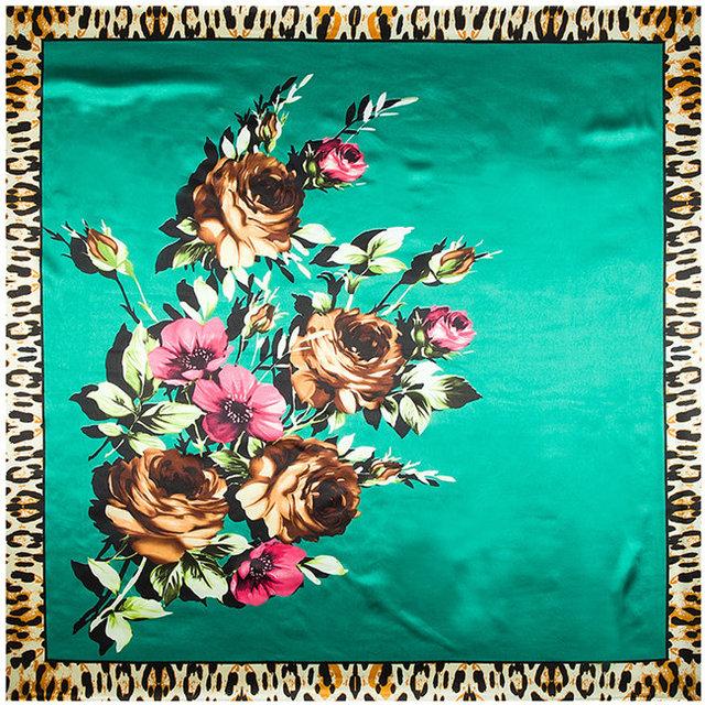 90 см * 90 см европейский розы леопарда печатных марка женщины шелковый атлас большой косынка