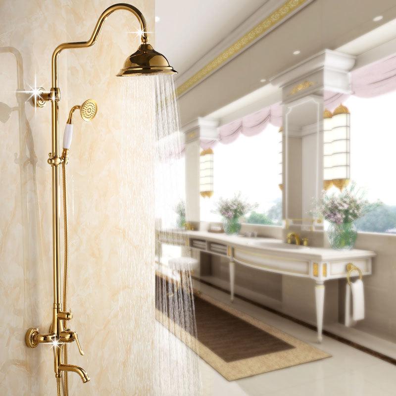 Gold Plated Rainfall Shower Sets 3 Function Shower Head Brass Bath Faucets Inbath Shower