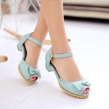 2016 shoes women pumps sweet Peep Toe ladies shoes fashion bowknot decoration ladies low heel Sandals plus size 28-52(China (Mainland))