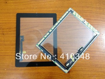 5pcs/lot 100% original Touch Screen With Home Button Assembly+sticker for New iPad 3 Black free shipping by DHL EMS