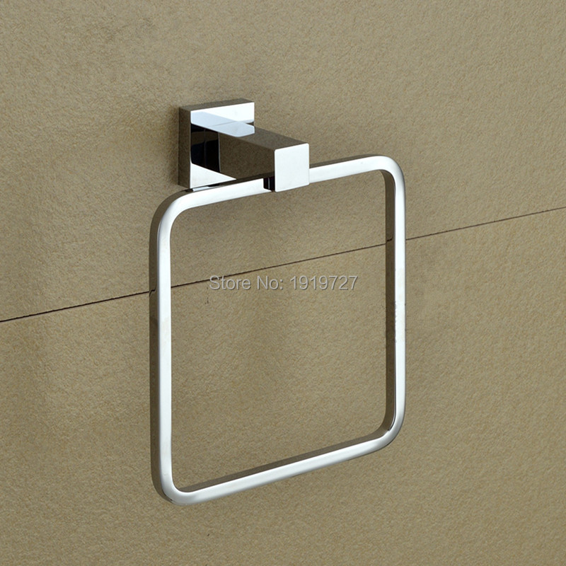 2016 Wholesale Solid Cooper Bathroom Accessories Square Style Bath Towel Ring Holder Towel Bar(China (Mainland))