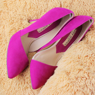 spring autumn sweet gentle women cutout shallow mouth pointed toe thin heels high-heeled shoes suede women High heels shoes <br><br>Aliexpress