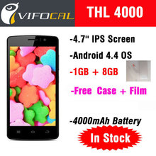 Original THL 4000 MTK6582 Quad core Smart Mobile Phone Android4.4 OS 4.7'' IPS Screen 1GB RAM + 8GB ROM 4000mAh WCDMA GPS 5.0MP(China (Mainland))