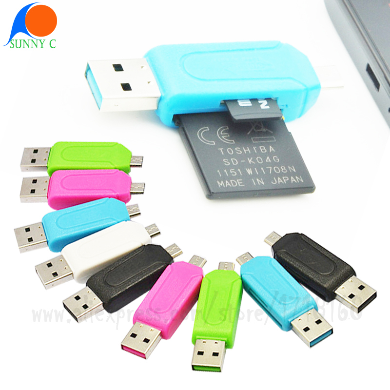 Universal Smartphone Computer 2 in 1 USB Reader Dual USB Plug OTG Hub TF/SD card Reader Flash Drive Adapter for Android Table PC(China (Mainland))
