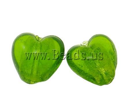 Free shipping!!!Silver Foil Lampwork Beads,2013 new fashion girl, Heart, green, 15x9mm, Hole:Approx 2mm, 100PCs/Bag, Sold By Bag