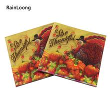 [RainLoong] Printed Feature Thanksgiving Paper Napkin Event & Party Tissue Decoupage Servilleta 33cm*33cm 20pcs/pack/lot(China (Mainland))