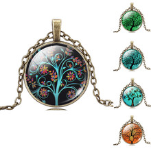Life Tree Pendant Necklace Art Tree glass cabochon Necklace Bronze chain vintage choker statement Necklace Fashion