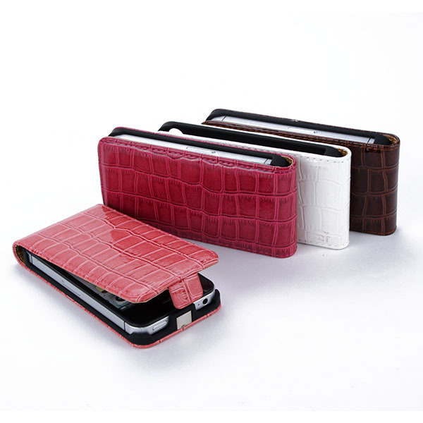 Fashion Vertical Crocodile Skin PU Leather Case Flip Cover For iPhone 4 4S 4GS(Hong Kong)