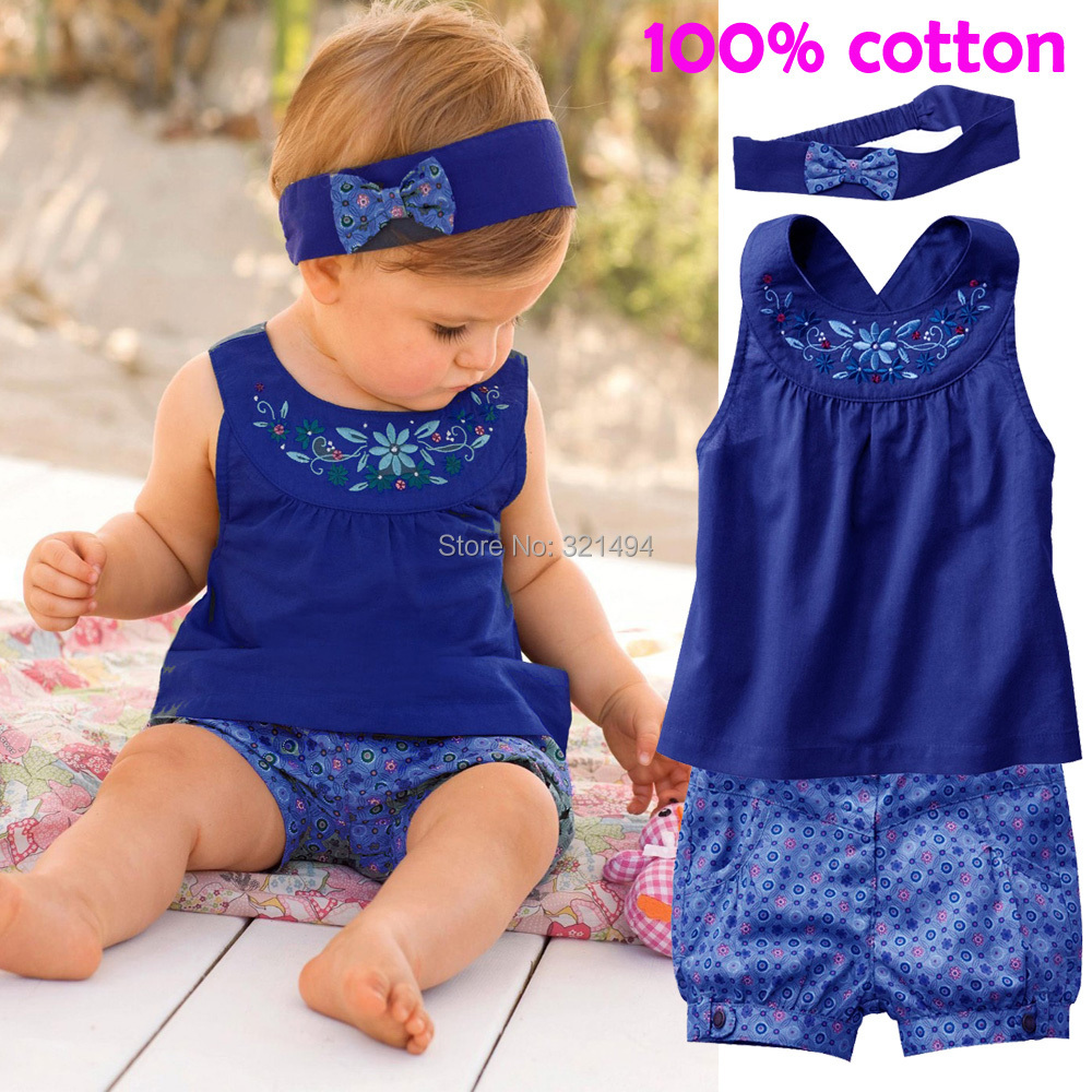 Bear Leader Fashion Blue Baby Vestidos Suits/Baby Kerchief+ Sleeveless Dress+ Gingham Plaid Pant/ Baby Clothing 2015 New(China (Mainland))