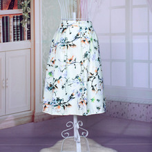 Women's Sexy Floral Printed Elastic High Waist Fashion Skirt Elegant A-Line Women's Empire Vintage 3 Color Free Size skirts