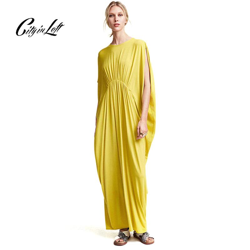 Summer Dress 2016 Women Beach Style Yellow Casual Loose Maxi Dress Art Simple Asymmetrical Fold Long Party Dresses M-149(China (Mainland))