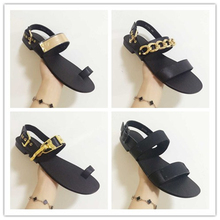 BIG SIZE 45 2015 NEW BRAND SAME DESIGN SHOES MAN METAL CHAIN ORNAMENT FLAT SANDAL MALE COW LEAHTER CASUAL SUMMER SHOES(China (Mainland))