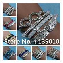Wholesale Handmade Fashion Rhinestone Crystal Infinity love Wing Cross Anchor Heart Beaded Eiffel Tower Skull  Bracelets Bangles(China (Mainland))