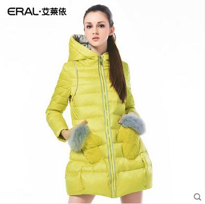 ERAL 2014  Женщины Winter Coat Slim Длинный Закрытый Down Jacket with Мех Glove ...