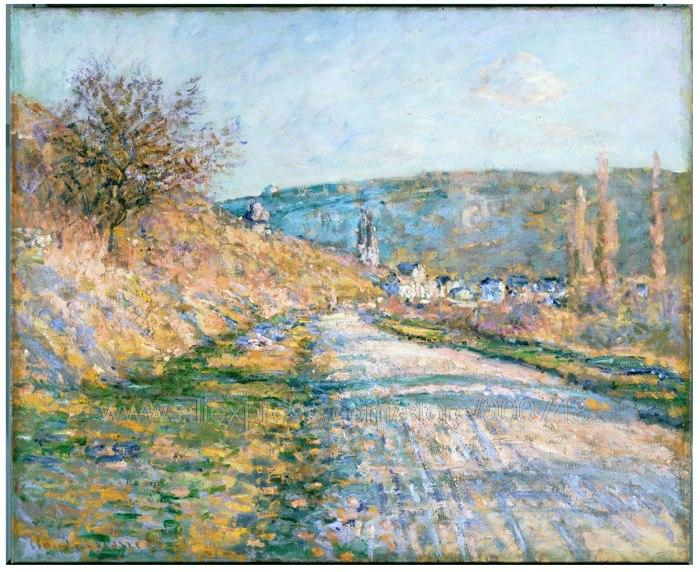 Art Deco Famous Artists Modern African Painting Van Gogh Acrylic Paint By N Claude Monet The Road To Vetheuil(China (Mainland))
