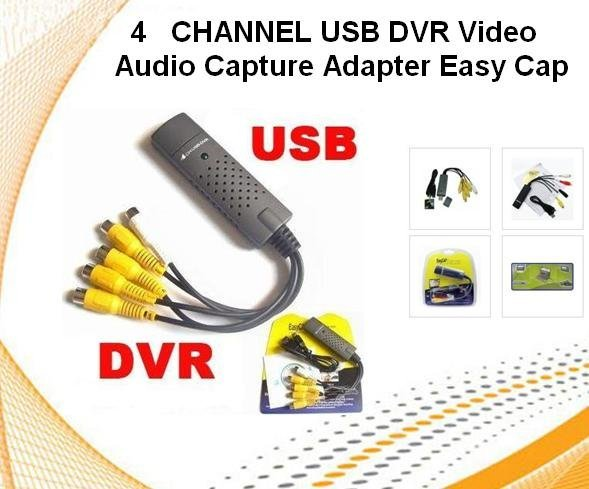 wholesale 4 CHANNEL USB DVR Video Audio Capture Adapter Easy Cap freeshipping