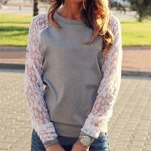 2016 Summer Autumn Fashion Lace Patchwork Pullover Sweatshirt Women Hoodies Sport Suit Casual Hoodies Sweatshirts XL(China (Mainland))