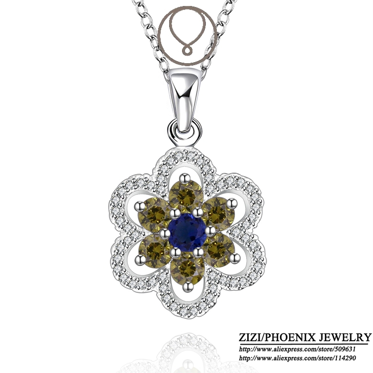 N557 wholesale 925 Silver Flower Pendants Necklaces for women fashion Jewelry high quality hot selling christmas gift(China (Mainland))