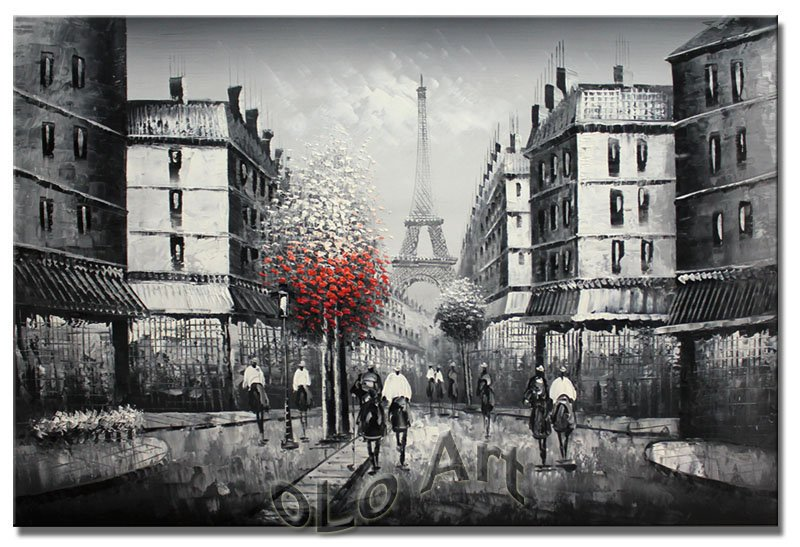 Black And White Paintings of The Eiffel Tower Paris Eiffel Tower Black