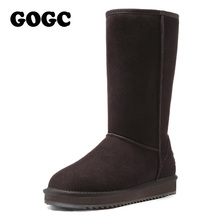 GOGC 2017 New Arrival Women's Winter Shoes for Women Warm Women's Boots Female Footwear Made of Genuine Leather Winter Boots Fur(China (Mainland))