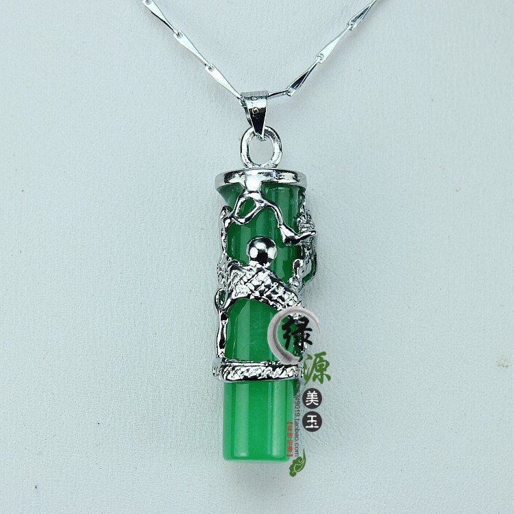 drop 005 925 Silver sterling Natural Malay jade pendant emerald Dragon universal cylindrical stone charms(China (Mainland))
