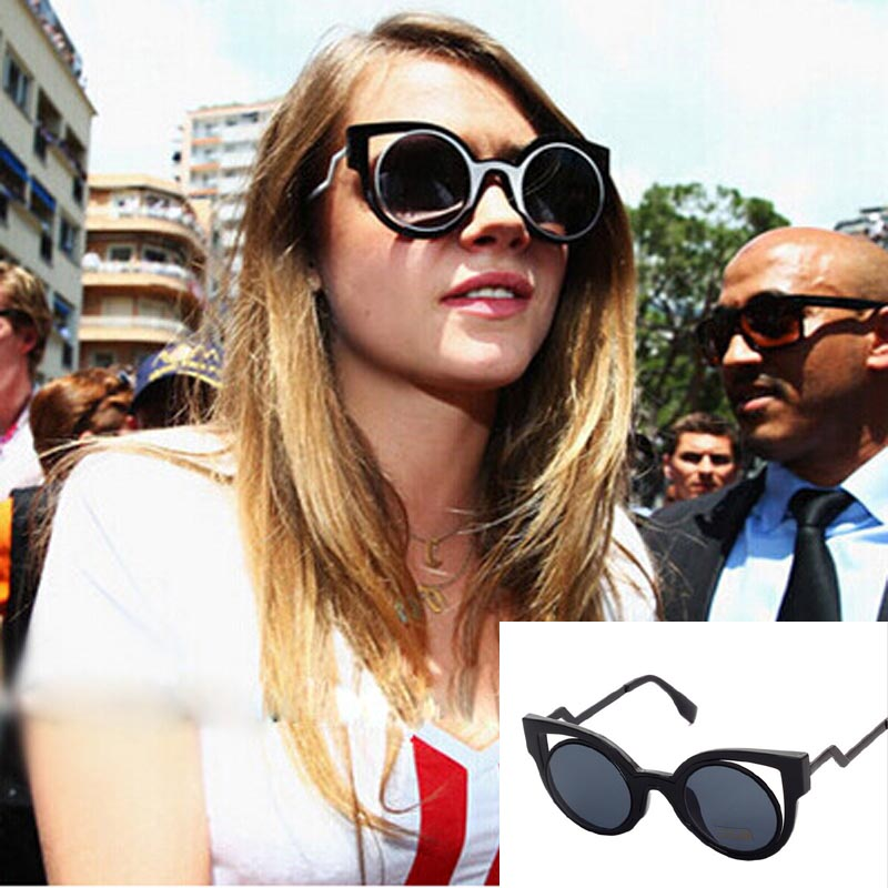 Fashion Vintage Cat Eye Women's Sunglasses Ladies Metal Classic Sun Glasses Female Eyewear Dazzle color street photo glasses(China (Mainland))