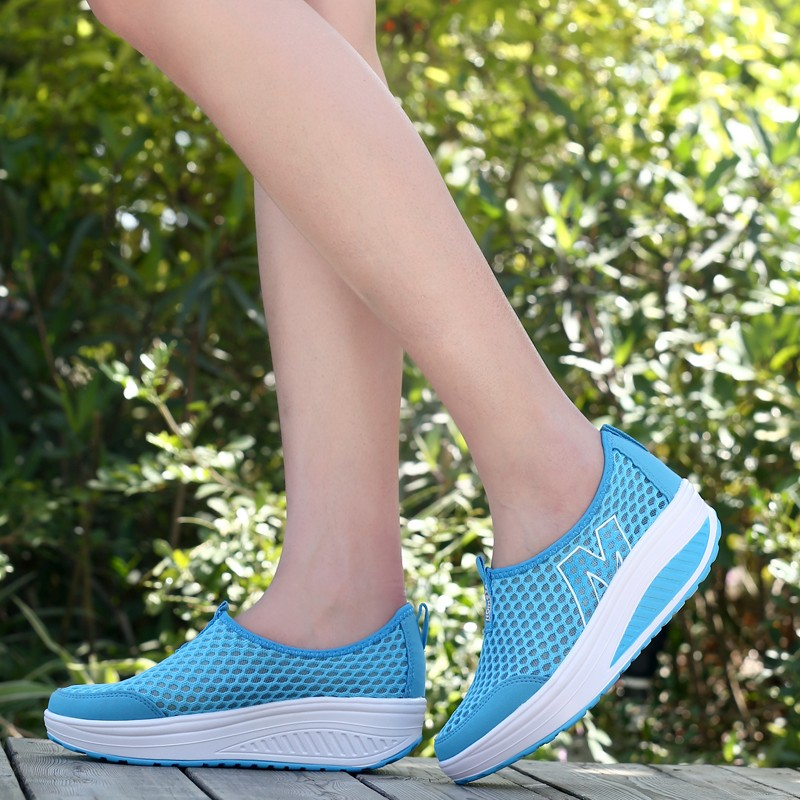 2016 New Women Summer Breathable Mesh Platform Casual Shoes Womens M Walking Shoes Woman Swing Weight Loss Shoes Size 40