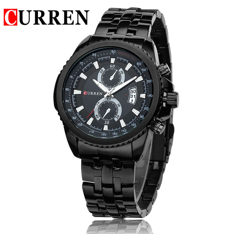 Reloj Hombre Top Luxury Brand Curren Watches Men Black Stainless Steel Analog quartz-watch Militar Sports Mens 8082 - Helen Watch store