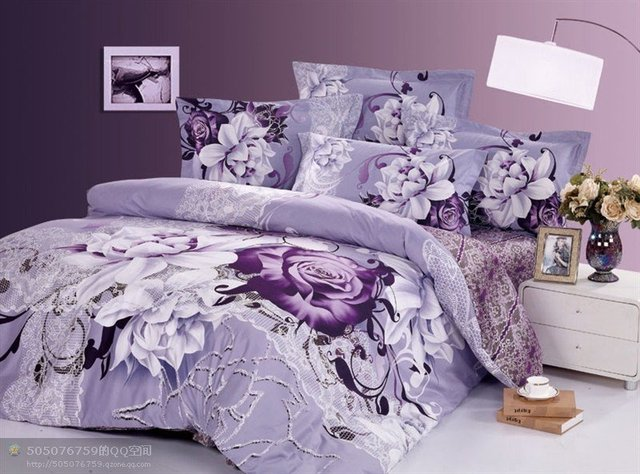 New hot Beautiful 100% Cotton 4pc Doona Duvet QUILT Cover Set bedding set Full / Queen/  King size 4pcs Light purple sally
