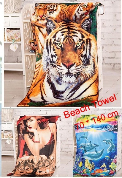 printed animal bath towel beach towel 70*140cm / 27''*55'' microfiber fabric towelcloth dry quickly tiger dolphins women(China (Mainland))