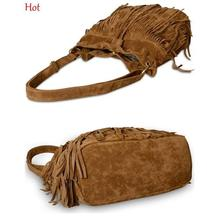 2015 Fashion Tassel Shoulder Bag Womens European Suede Fringe Handbags Messenger Bags String Crossbody Bag Brown