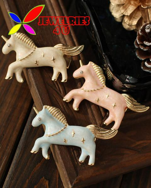 New Arrival Unicorn Clips Fashion Designer Vintage Enamel Animal Hair Clip for Women Jewelry Accessories pinzas de pelo(China (Mainland))