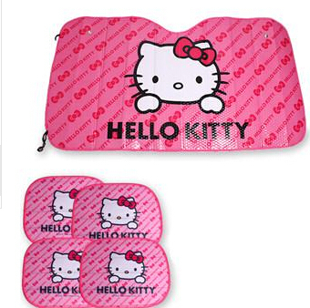 Car umbrella Window Foils Car Covers Pink Hello Kitty Car Front Side Window Sunshade Sunshades Auto Windshield cover 5pcs/set(China (Mainland))