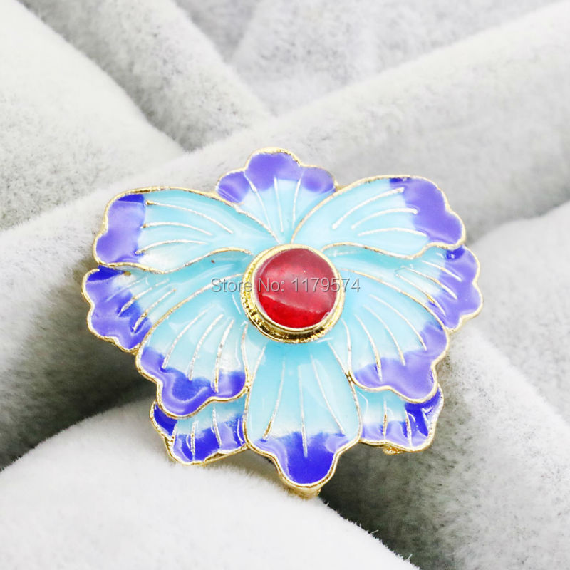 5PCS Wholesale Blue Butterfly Flower Crafts Clothing Fitting Cloisonne Pendant DIY Beads Jewelry Making Copper 31*28mm(China (Mainland))