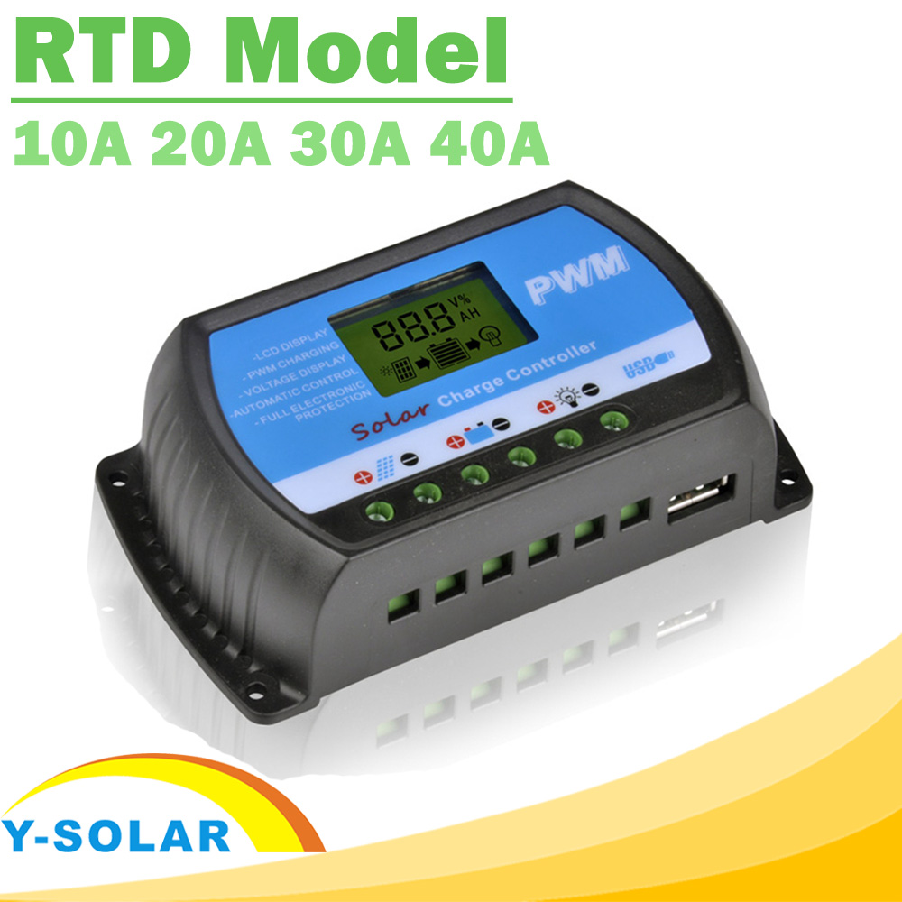 PowMr PWM 10A 20A 30A 40A Solar Charge Controller 12V 24V Auto LCD Display Solar Regulator RTD for Max 50V Panel Input USB 5V(China (Mainland))
