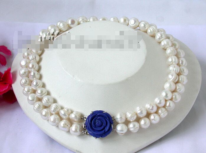 FREE shipping&gt; &gt;&gt;&gt;n1685 beautiful 13mm 2strands white freshwater pearls Necklace<br><br>Aliexpress