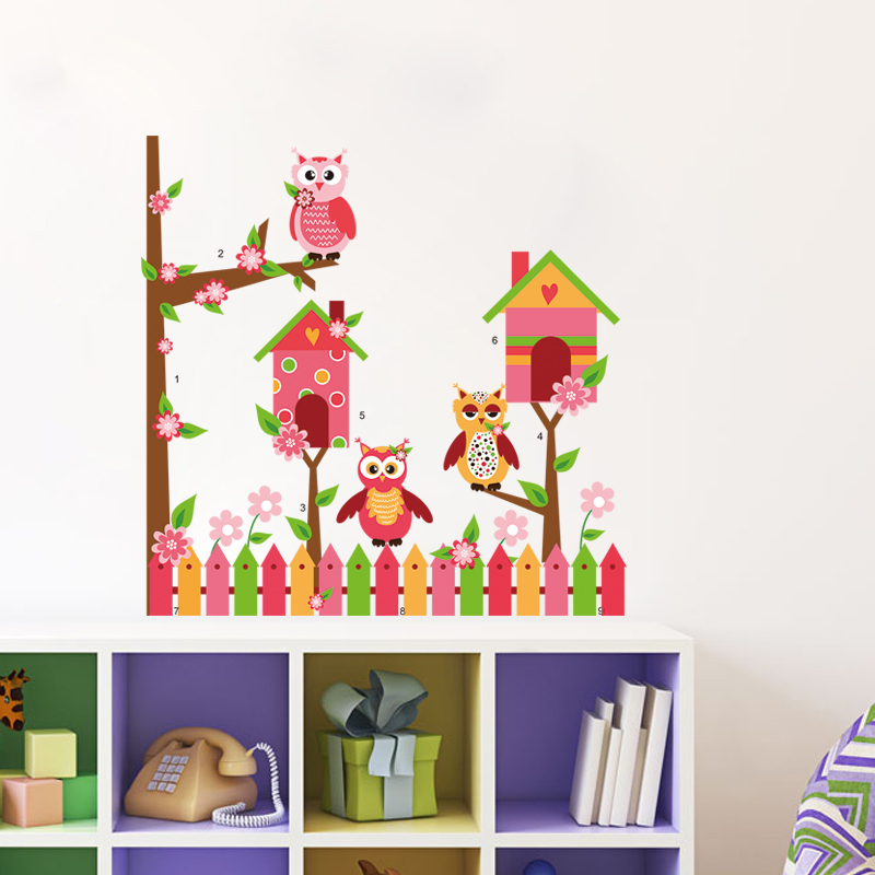 PVC Wall Stickers Cartoon Animals Owl Wall Sticker Cartoon Tree Pictures Children Room Decoration Removable Decals Vinyl Murals(China (Mainland))