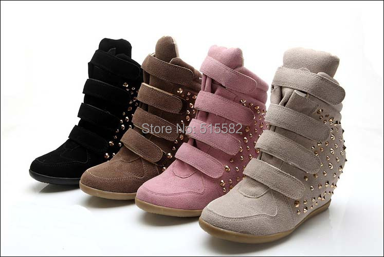 Фотография 2016 New Arrival suede women Wedges high heeled casual shoes top quality women girls shoes fashion rivets elevator boots