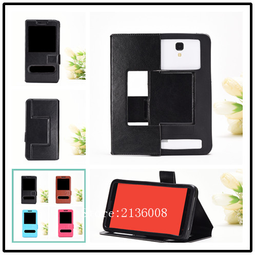 For Nomi i504 Case High Qualit Fashion Mobile Phone Leather Case With Big Mobile Window Free Shipping(China (Mainland))