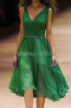 robe de cocktail dresses 2015 sexy v-neck sleeveless beaded empire waist simple green women party dress vestido de festa curto(China (Mainland))