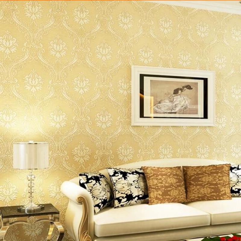 Hot sale european damask flocking embossed wall paper for Bedroom wallpaper sale