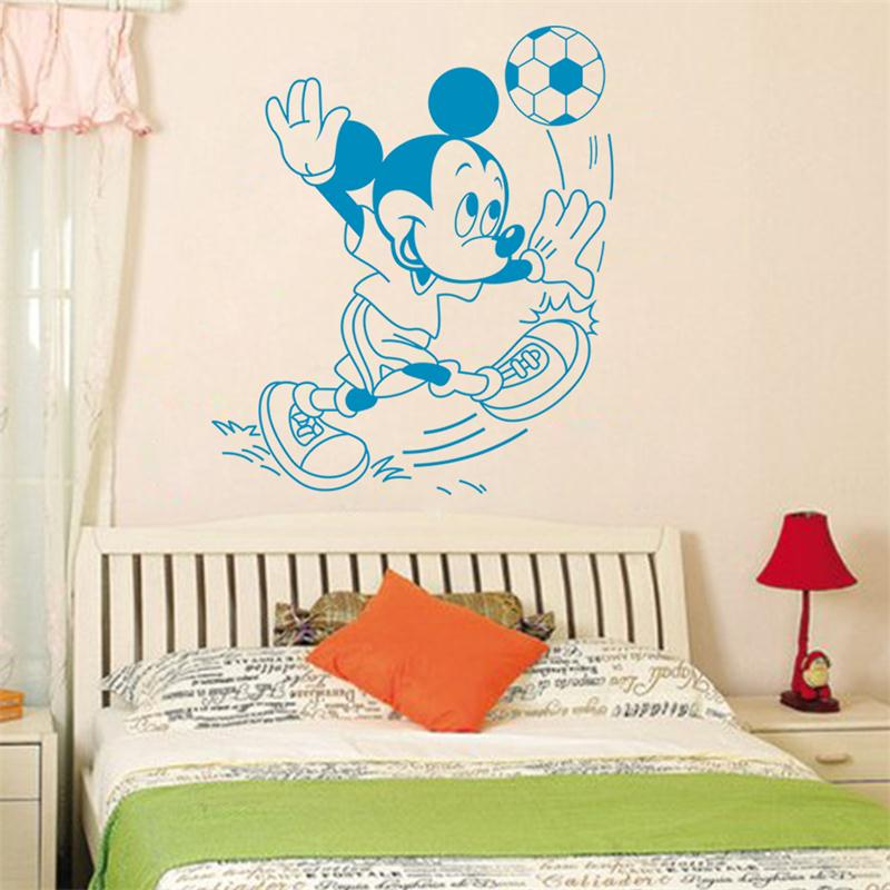 bule cute mickey mouse football vinyl mural wall sticker wall decal cute mickey and minnie wall decals mickey and