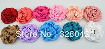 Trail order about 2.8'' Rosettes DIY rose flower satin silk carnation flower fabric flower hair accesories12pcs/lot