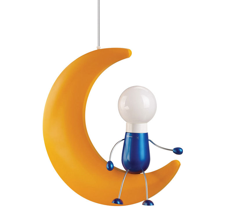Novelty Moon Yellow Wood Moon Cartoon Children Kids Boys Girls E27 Energy Saving Bulb Bedroom Hanging Pendant Lights Lamps CD35(China (Mainland))