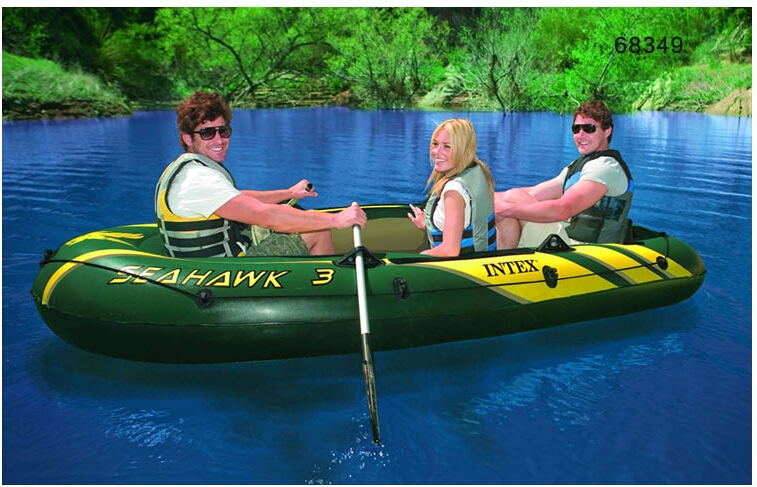 Retail Intex seahawks 3 person inflatable boat 295*137*43cm fishing boat 68349, Aluminum oars, hand pump, color box(China (Mainland))