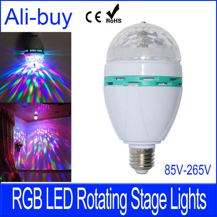 LED Lamp E27 RGB LED Rotating Stage Bulb Full Color Light AC 85V - 265V 3W Holiday DJ Disco Dance Party KTV with Box Ann(China (Mainland))