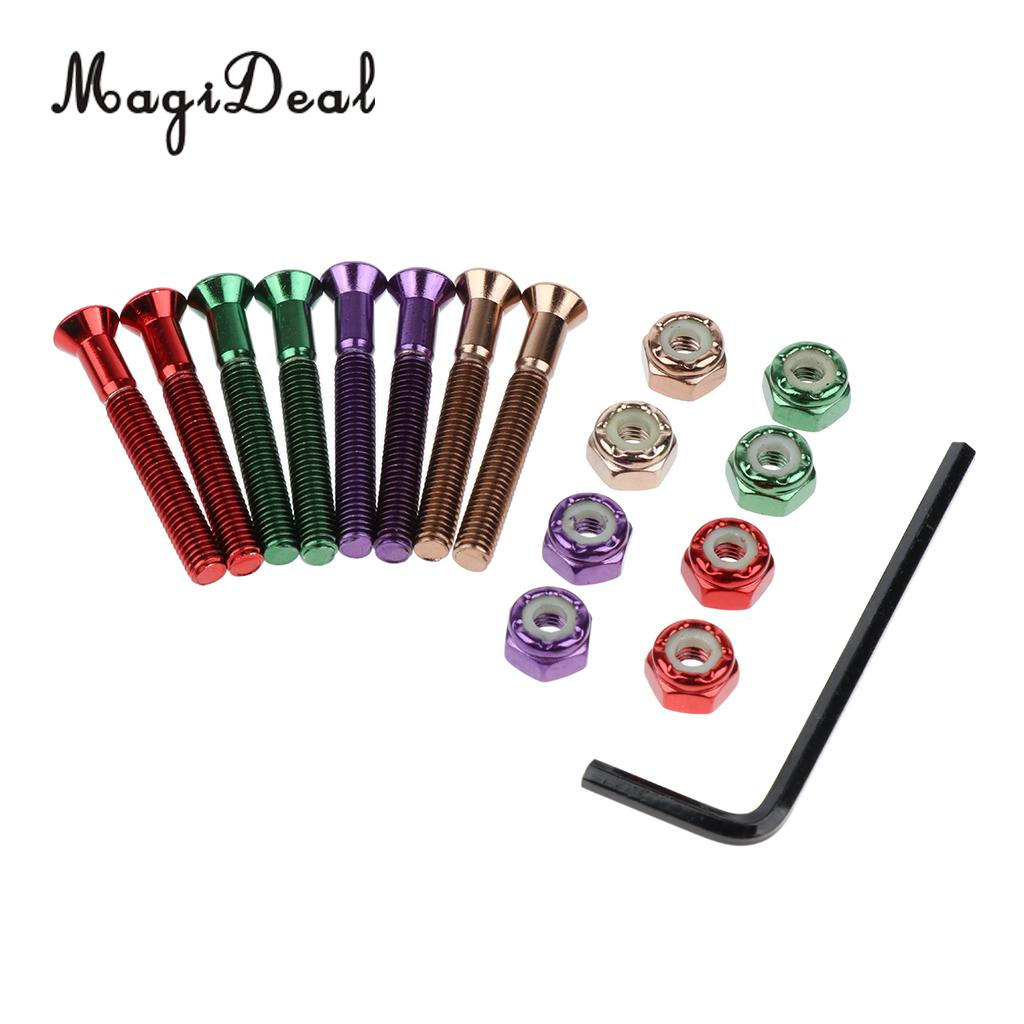 MagiDeal 8 Pair Colorful Skateboard Mounting Screws Nuts Longboard Truck Hardware Screws 1.5inch with L Type Wrench Tool
