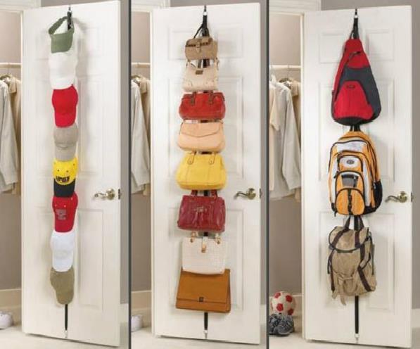 Adjustable Over Door Straps Hanger Hat Bag Coat Clothes Rack Organizer 8 Hooks Free Shipping(China (Mainland))