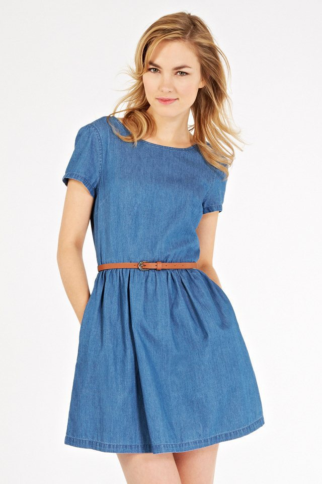New 2015 Fashion Women Summer Dress Denim Casual Dress With Belt Women Dress College Style Short