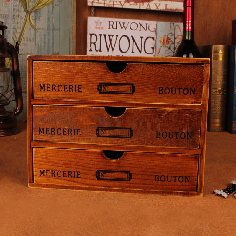 Quality Vintage European Desktop storage box cabinet drawer jewelry box solid wood retro wooden Home Decoration Filming props(China (Mainland))